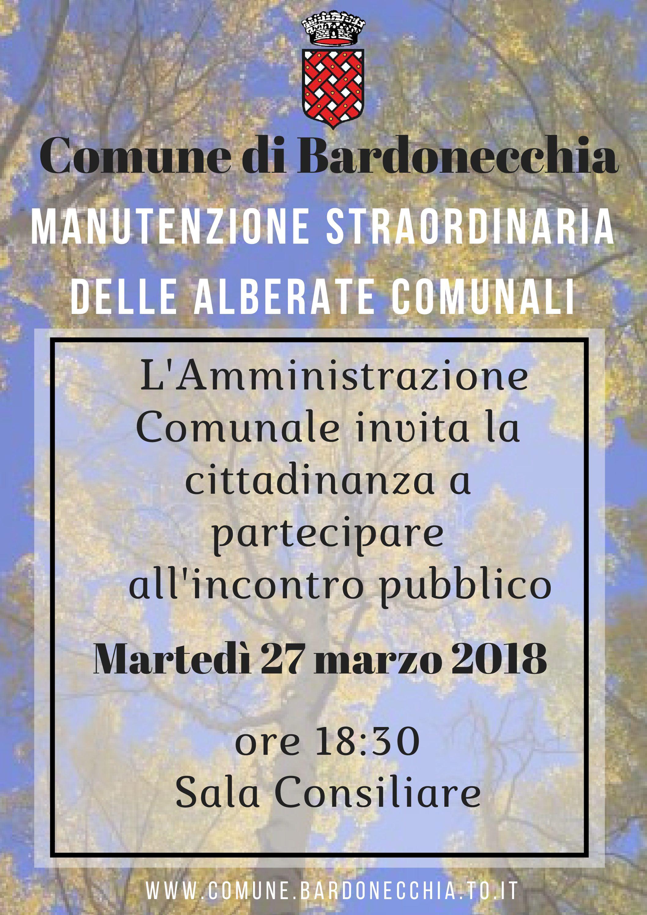 27/03/2018 ORE 18.30 – INCONTRO PUBBLICO MANUTENZIONE ALBERATE