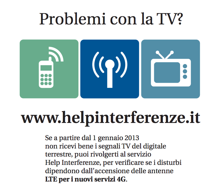 PROBLEMI CON LA TV?  HELP INTERFERENZE