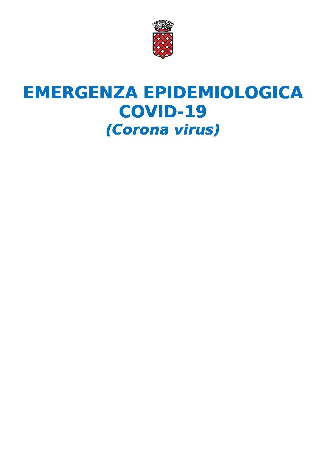 EMERGENZA EPIDEMIOLOGICA DA COVID-19 (Corona virus) – AVVISO ALLA CITTADINANZA