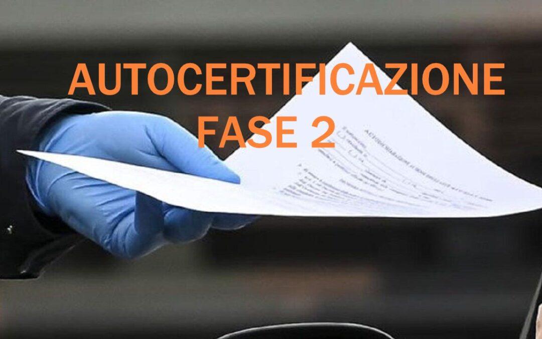 4 MAGGIO 2020 NUOVO MODELLO AUTOCERTIFICAZIONE PER SPOSTAMENTI