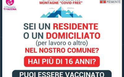 VACCINAZIONE ANTI COVID-19 AREE MONTANE E MAGGIORMENTE ISOLATE AD ALTA PRIORITA'